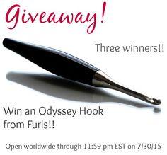 Furls Odyssey Hook Giveaway ... Three Winners!! Ends 11:59 pm EST 7/30/15.  #crochet