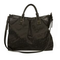 DKNY Donna Karan Black Monogram Canvas Leather Large Weekend Travel Bag Handba