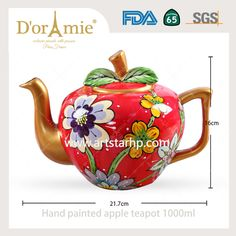 Hand painted personalized apple teapot made in china Teapot, Hand Painted, China, Apple, Canning, Tableware, How To Make, Apple Fruit, Tea Pot