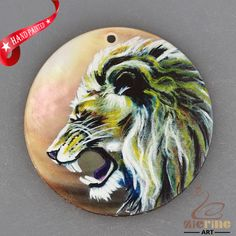 HAND PAINTED LION FASHION NECKLACE SHELL PENDANT BEAD ZH30 00520 #ZL #PENDANT