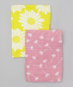 Rose Dandelion & Yellow Sunflower Organic Burb Cloth Set by zebi