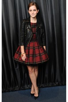 Emma Watson's Style Timeline: 13 of Her Major Fashion Moments | TeenVogue.com --- I LOVE THE PLAID AND THE LEATHER