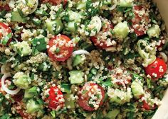 Quinoa tabouleh 1 cup quinoa, rinsed well 1/2 teaspoon salt  2 tablespoons fresh lemon juice 1 garlic clove, minced 1/2 cup extra-virgin olive oil Freshly ground black pepper 1 large English hothouse cucumber or 2 Persian cucumbers, cut into 1/4-inch pieces 1 pint cherry tomatoes, halved 2/3 cup chopped flat-leaf parsley 1/2 cup chopped fresh mint 2 scallions, thinly sliced