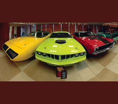 Left to right - Pymouth Roadrunner, Plymouth 'Cuda, Dodge Challenger. Tons of muscle and money in this photo. Chevy Muscle Cars, Best Muscle Cars, American Muscle Cars, Big Trucks, Ford Trucks, Garage Accessories, Hot Rides, Sweet Cars, Performance Cars