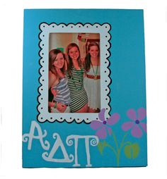 Alpha Delta Pi ADPi large frame made using supplies and custom stencils from DIYGreek.com.  The custom stencils make it easy to create this your self.  #sister, #little sister, #craft, #idea, #sorority, #greek,  #gift, #adpi, #alpha delta pi, #frame