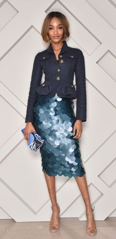 British model Jourdan Dunn wearing Burberry Prorsum to celebrate the opening of the new Burberry store in Tokyo