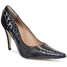 Sandalias negras en piel cocodrilo