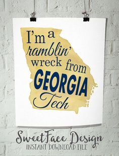 Georgia Tech digital download file Georgia Tech by SweetFaceDesign