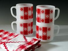 Red and white coffee cups and matching tablecloth - love love love