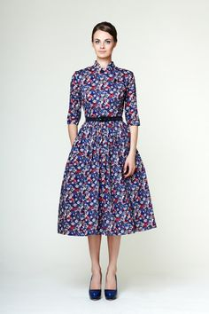 Ida - cotton dress with chinese collar made of Liberty fabric by Mrs Pomerantz, Moscow