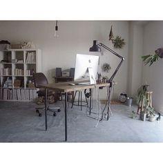 Home Desk, Home Office, Home Living Room, Living Spaces, Room Interior, Interior Design, Desk Setup, Man Room, Small Office
