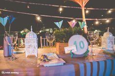 Marca mesa tejido, centro de mesa, origami, faroles. #carochicadeco #matrimonio #wedding #cartagena