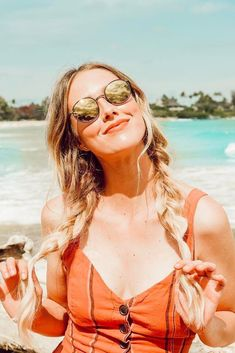 Sheridan Gregory Hairstyle. Long Hair, Easy Braids, Beach Hairdo, Sunnies, Sunglasses, Fashion Blogger, Vintage red dress with buttons, Beach Style, LA Outfit. Fashion Style. - Sheridan Gregory Instagram, Most popular outfits of Instagram. #fashionista #popular #outfitoftheday #bloggingfashion #SheridanGregory #fashion #womensfashion #fashionforwomen #travelblogger #instagram