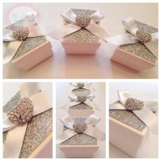 Beautiful Heart Diamante Wedding Favour (Favor) Box with Glitter lid