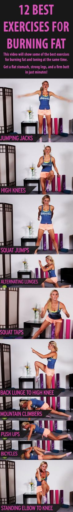 Calorie burning workout: 12 absolutely best exercises for BURNING FAT. #fatburn #weightloss #loseweight #bellyfat #fatburningworkout by elise