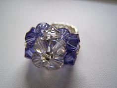 Tanzanite and Black Diamond Swarovski by lindasoriginaljewels, $14.00
