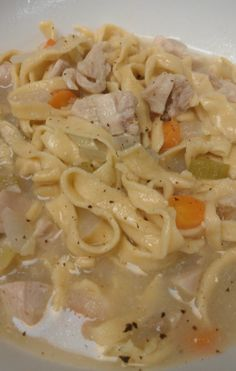 Homemade Chicken Noodle Soup with homemade spelt noodles.