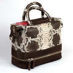 Italian handmade bag from GLENI in genuine python leather back-cut