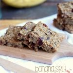 Banana Split Granola Bars | These Soft Banana Split Granola Bars are the perfect homemade lunchbox snack! Delicious and filled with healthy ingredients, you'll love sending your kids to school with these! These bars are really tasty! A little like banana bread in bar form…filled with dried cherries, walnuts, oats, honey…