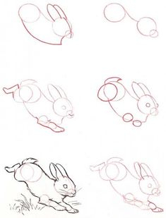 Bunny Sketches, Animal Sketches, Art Drawings Sketches, Animal Drawings, Easy Drawings, Beginner Drawing Lessons, Drawing Tutorials For Beginners, Art Tutorials, Rabbit Drawing