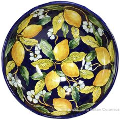 Italian Ceramic Majolica Blue Lemon Bowl