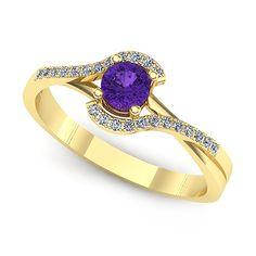 Inel de logodna din aur galben cu ametist rotund si diamante
