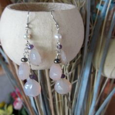 Rose pink chalcedony cascade earrings in sterling silver, now on sale @ 18% off, just in time  for spring & summer!