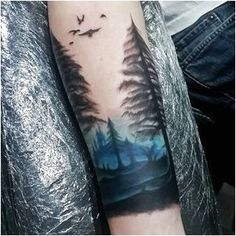 60 Forearm Tree Tattoo Designs For Men - Forest Ink Ideas Blue Ink Sky Watercolor Mens Forearm Tree Tattoos Trendy Tattoos, Cute Tattoos, Beautiful Tattoos, Body Art Tattoos, New Tattoos, Tattoos For Guys, Sleeve Tattoos, Tattoos For Women, Amazing Tattoos