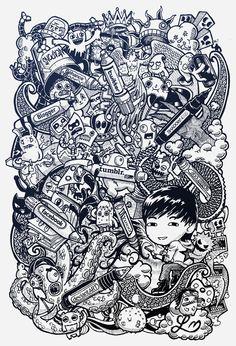 DOODLE ART: Social Pens by Lei Melendres, via Behance