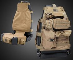 Tactical and classy are two words that are never mixed until now! With multiple pockets you can use to put: ammunition, tools, condoms and Pokemon cards into. Finally something to pimp your ride to that doesn't involve a washed up rapper. Tactical Survival, Tactical Gear, Survival Gear, Tactical Gloves, Motorcycle Camping, Camping Gear, Jeep Jk, Tactical Seat Covers, Vw T3 Syncro
