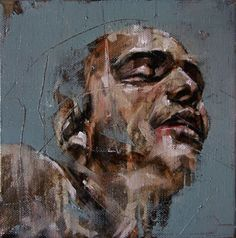 """""""They Will Give Us A Name"""" - Guy Denning, oil on canvas {contemporary #expressionist artist male head man face portrait smudged texture painting grunge drips} guydenning.org"""