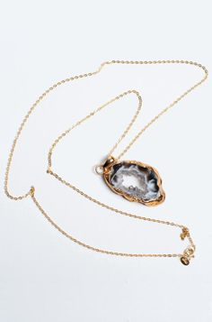 Grey Sliced Druzy Geode Necklace 14k Gold Vermeil by Charlene K  I Love geodes!!