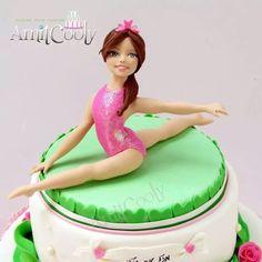 Bat Mitzvah cake gymnast - cake by Nili Limor Gymnastics Cakes, Gymnastics Birthday, Ballet Cakes, Ballerina Cakes, 9th Birthday Cake, Barbie Birthday, Cheerleading Cake, Cheerleader Cakes, Gym Cake