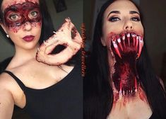 Halloween Ideas - Find your perfect idea for Halloween - Halloween Makeup - Halloween Costumes - Halloween Shirts - Halloween Decorations & Supplies ! Horror Makeup, Scary Makeup, Sfx Makeup, Costume Makeup, Halloween Doll, Halloween Make Up, Halloween Costumes, Halloween Ideas, Halloween Decorations