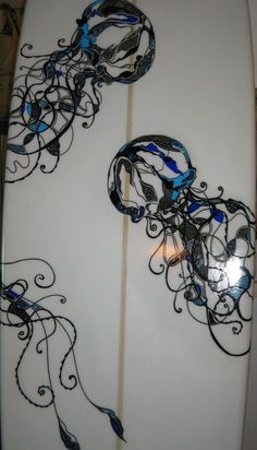Contemporary Illustration - Custom hand-painted Surfboard (2009) - Sold (Original Art from Sarah-Lou Newman)