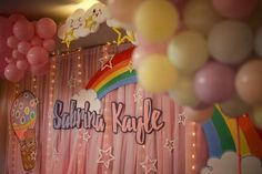 Aumbrey stage Name backdrop Hot Air Balloon, Party Themes, Backdrops, Balloons, Stage, Rainbow, Clouds, Rain Bow, Globes