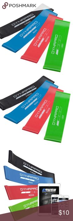 DYNAPRO Resistance Bands- NEW NWOT DYNAPRO Resistance Bands- Mini Have not been used.  * 4-PIECE RESISTANCE BANDS give you a variety of resistance levels. Light, Medium, Heavy and X-Heavy loops with an E-Quickstart Workout Guide by Crush Personal Trainers * SNAP-RESISTANT and eco-friendly 100% natural rubber bands require no spotter.  * COMPACT AND PORTABLE for use in your home gym, at the office and as you travel. Our 4-Piece Resistance Bands Set comes with a drawstring storage pouch…