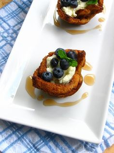 Blueberry Stuffed French Toast Bowls by willowbirdbaking #French_Toast #Blueberries
