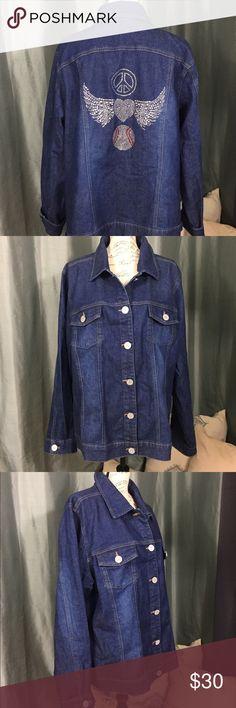 7a65e85e3ab14 Baseball bejeweled jean jacket ⚾ Beautiful ⚾ baseball bejeweled jean jacket  with rhinestone buttons