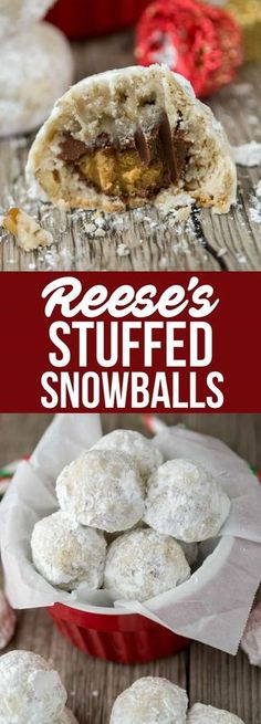 Reese's Stuffed Snowballs are the BEST kind of Christmas Cookie! Snowball cookies stuffed with candy - everyone loves them! via Reese's Stuffed Snowballs are the BEST kind of Christmas Cookie! Snowball cookies stuffed with candy - everyone loves them! Köstliche Desserts, Holiday Desserts, Holiday Treats, Holiday Recipes, Thanksgiving Desserts, Holiday Foods, Healthy Desserts, Kosher Desserts, Jewish Desserts