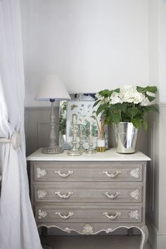 French Chest, White Hydrangea