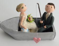 "Bride & Groom fishing in ""Tinny"" boat"