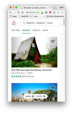 Airbnb - upozaděné vyhledávací pole při zvolení určité kategorie, dole filtry