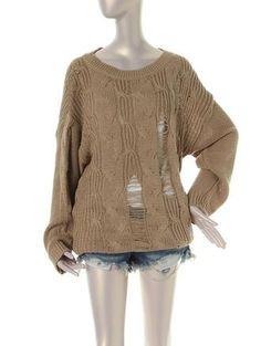 cable sweater ragged