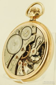 "Illinois grade 305 ""Precise"" vintage pocket watch, 16 Size, 17 Jewels, heavy yellow gold (filled) smooth polish case (movement view). $225, on Etsy."