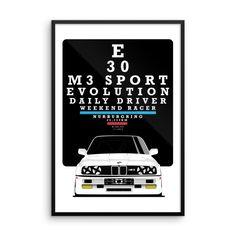 BMW E30 - Framed Poster 24x36