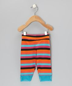 Take a look at this Orange Stripe Jada Capri Leggings - Toddler & Girls by Lucky & Me on #zulily today!