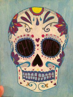 Chi Omega Skull Canvas