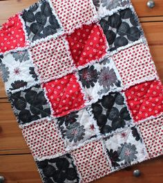 Ladybug love red white and black baby rag quilt by Sewology101