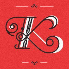 K : Type Fight // Design by Ricky Linn Cool Typography, Typography Letters, Graphic Design Typography, Lettering Design, Japanese Typography, Calligraphy Letters, Typography Poster, Typography Inspiration, Graphic Design Inspiration
